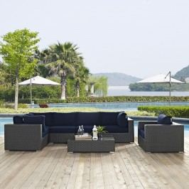 Sojourn 7 Piece Outdoor Patio Sunbrella?? Sectional Set in Canvas Navy