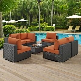 Sojourn 7 Piece Outdoor Patio Sunbrella?? Sectional Set in Canvas Tuscan