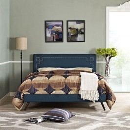 Josie King Fabric Platform Bed with Round Splayed Legs in Azure
