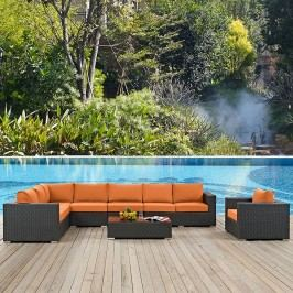 Sojourn 7 Piece Outdoor Patio Sunbrella?? Sectional Set in Chocolate Tuscan