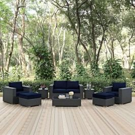 Sojourn 8 Piece Outdoor Patio Sunbrella?? Sectional Set in Canvas Navy