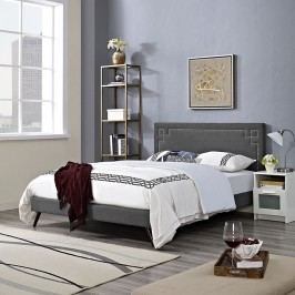 Josie King Fabric Platform Bed with Round Splayed Legs in Gray