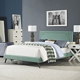 Josie King Fabric Platform Bed with Round Splayed Legs in Laguna