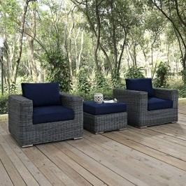 Summon 3 Piece Outdoor Patio Sunbrella?? Sectional Set in Canvas Navy