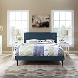 Josie King Fabric Platform Bed with Round Tapered Legs in Azure