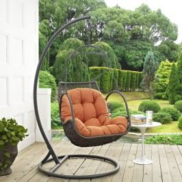 Arbor Outdoor Patio Wood Swing Chair in Orange