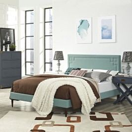 Josie King Fabric Platform Bed with Round Tapered Legs in Laguna