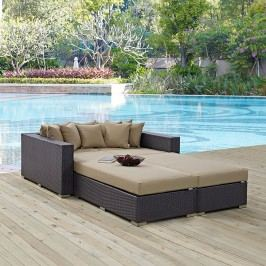 Convene 4 Piece Outdoor Patio Daybed in Espresso Mocha