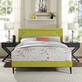 Josie King Fabric Platform Bed with Round Tapered Legs in Wheatgrass