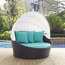 Convene Canopy Outdoor Patio Daybed in Espresso Turquoise