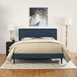 Josie King Fabric Platform Bed with Squared Tapered Legs in Azure