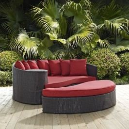 Convene Outdoor Patio Daybed in Espresso Red