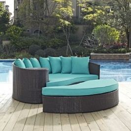Convene Outdoor Patio Daybed in Espresso Turquoise