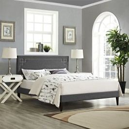 Josie King Fabric Platform Bed with Squared Tapered Legs in Gray