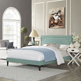 Josie King Fabric Platform Bed with Squared Tapered Legs in Laguna
