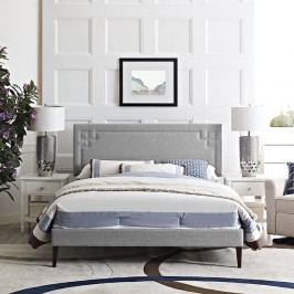 Josie King Fabric Platform Bed with Squared Tapered Legs in Light Gray