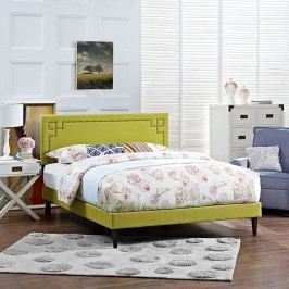 Josie King Fabric Platform Bed with Squared Tapered Legs in Wheatgrass