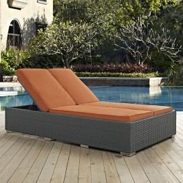 Sojourn Outdoor Patio Sunbrella?? Double Chaise in Chocolate Tuscan