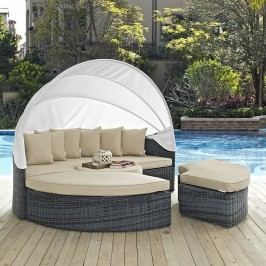 Summon Canopy Outdoor Patio Sunbrella?? Daybed in Antique Canvas Beige