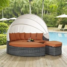 Summon Canopy Outdoor Patio Sunbrella?? Daybed in Canvas Tuscan