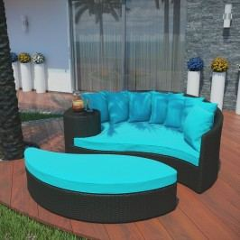 Taiji Outdoor Patio Wicker Daybed in Espresso Turquoise