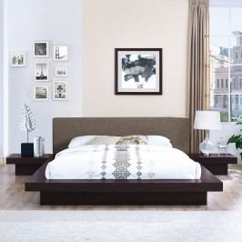 Freja 3 Piece Queen Fabric Bedroom Set in Cappuccino Brown