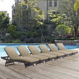 Convene Chaise Outdoor Patio Set of 6 in Espresso Mocha