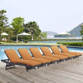 Convene Chaise Outdoor Patio Set of 6 in Espresso Orange