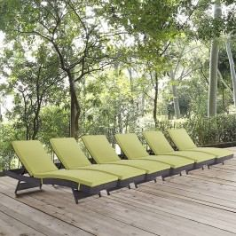 Convene Chaise Outdoor Patio Set of 6 in Espresso Peridot