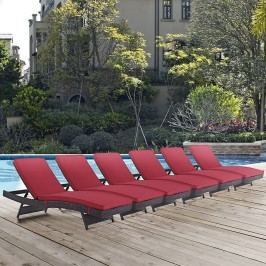 Convene Chaise Outdoor Patio Set of 6 in Espresso Red