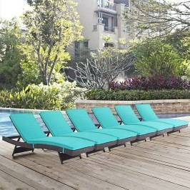 Convene Chaise Outdoor Patio Set of 6 in Espresso Turquoise