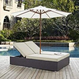 Convene Double Outdoor Patio Chaise in Espresso Beige