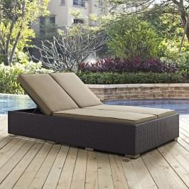 Convene Double Outdoor Patio Chaise in Espresso Mocha