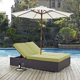 Convene Double Outdoor Patio Chaise in Espresso Peridot