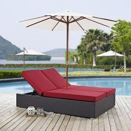 Convene Double Outdoor Patio Chaise in Espresso Red
