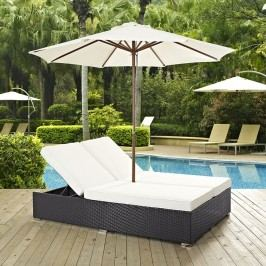 Convene Double Outdoor Patio Chaise in Espresso White