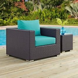 Convene Outdoor Patio Armchair in Espresso Turquoise