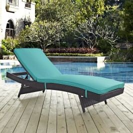Convene Outdoor Patio Chaise in Espresso Turquoise