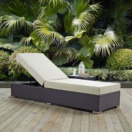 Convene Outdoor Patio Chaise Lounge in Espresso Beige