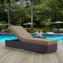 Convene Outdoor Patio Chaise Lounge in Espresso Mocha