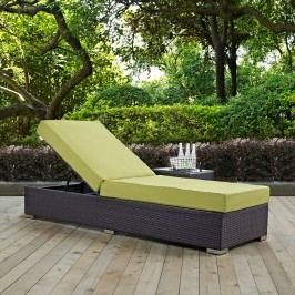 Convene Outdoor Patio Chaise Lounge in Espresso Peridot