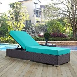 Convene Outdoor Patio Chaise Lounge in Espresso Turquoise