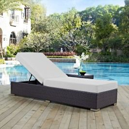 Convene Outdoor Patio Chaise Lounge in Espresso White