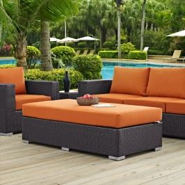 Convene Outdoor Patio Fabric Rectangle Ottoman in Espresso Orange