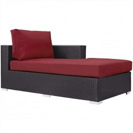 Convene Outdoor Patio Fabric Right Arm Chaise in Espresso Red