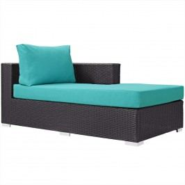 Convene Outdoor Patio Fabric Right Arm Chaise in Espresso Turquoise