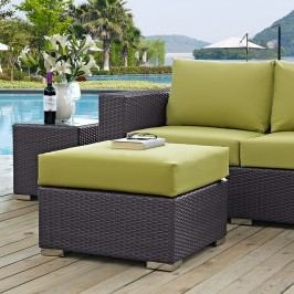 Convene Outdoor Patio Fabric Square Ottoman in Espresso Peridot