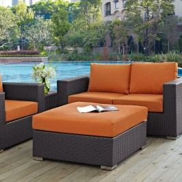 Convene Outdoor Patio Large Square Ottoman in Espresso Orange