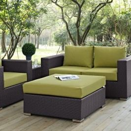 Convene Outdoor Patio Large Square Ottoman in Espresso Peridot