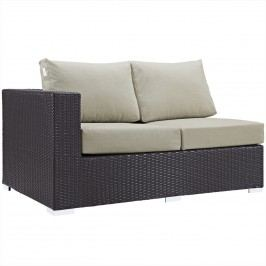 Convene Outdoor Patio Left Arm Loveseat in Espresso Beige
